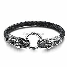Men's Black Braided Leather Stainless Steel Dragon Head Cuff Bangle Bracelet