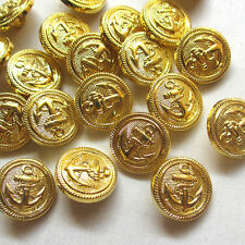 New 100pcs Plastic Gold Round Buttons Anchor 18mm Sewing Craft T0803