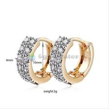 Mens Womens Gold Plated Zircon Cryatal Ear Hoop Huggie Studs Engagement Earrings