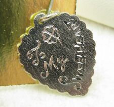 "Vintage Sterling Silver ""To My Sweetheart"" Scalloped Heart Bracelet Charm"