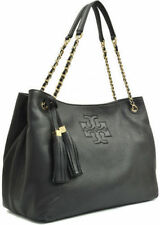 NEW Tory Burch Authentic Thea Slouchy Chain Shoulder Tote Leather Bag Black