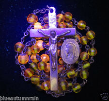 † EXCEEDINGLY SCARCE ANTIQUE AMBERINA URANIUM GLOWING ORANGE / YELLOW  ROSARY †