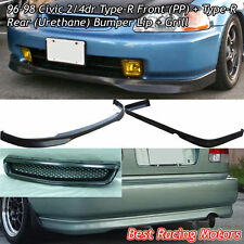 TR Style Front + TR Style Rear Lip (PU) + Grill (ABS) Fits 96-98 Honda Civic 4dr