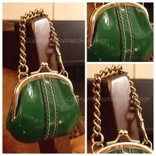 Coach 40504 RARE Kisslock Limited Edition Chain Strap Green Patent Leather Purse