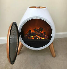 New 1.8Kw Contemporary White Oval Shape Modern Flame Effect Fire Space Heater