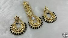 Gold Plated Real Meena Kundan Handmade Ethic Big Earrings With Awesome Tikka