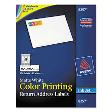 Avery Color Printing Mailing Labels 3/4 x 2 1/4 Matte White 600/Pack 8257