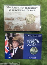 #D265. 2009  ANZAC $1 & 1990 $5  CARDED  COINS