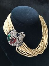 Vintage French Paste & Glass Fruit Salad Art Deco Pearls Necklace