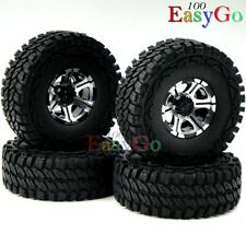 4pcs RC 1.9'' Alloy Beadlock Rims Wheel & 115mm 1/10 Soft Tire for Crawler Truck