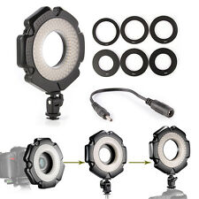 "160 LED Camera Macro Ring Flash Light Eyes + 6 Ring 1/4"" Hot Shoe Adapter Tripod"