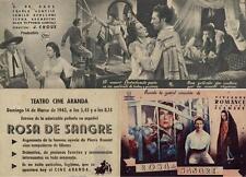 Año 1943. Programa PUBLICITARIO de CINE: Rosa de Sangre.