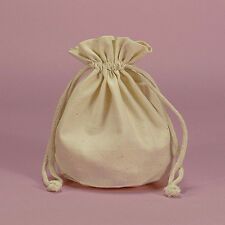 POUCH - NATURAL MUSLIN ROUND BOTTOM Crystal Bag w/ Drawstring - 7 x 4.75 inch