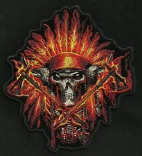 NATIVE FLAME INDIAN CHIEF HEADRESS DEATH SKULL BURNING MOTORCYCLE BIKER PATCH