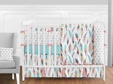 Coral Turquoise Pink Grey White Gold Bohemian Feather Girl Baby Bedding Crib Set
