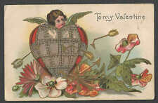Ca 1907 PPC* VINTAGE VALENTINE CUPID EMERGES FROM STEEL HEART COLORFUL SEE INFO