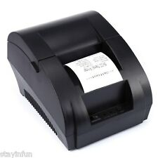 Portable Mini 58mm POS Receipt Thermal Printer with USB Port Black 12V EU PLUG