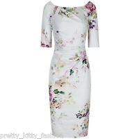 3/4 SLEEVE 40s CREAM FLORAL WIGGLE PENCIL COTTON VINTAGE COCKTAIL DRESS 8-18