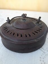 Antique Bronze & Cloth ACCORDION LANTERN Candle Holder Hanging Japan Asian India