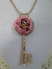 NWT Auth Betsey Johnson Pink Glitter Rose Skeleton Key Long Pendant Necklace