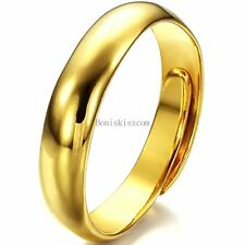 4 mm Yellow Gold Tone Stainless Steel Dome Open Ring Adjustable Wedding Band