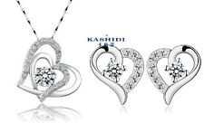SILVER SWAROVSKI Elements CRYSTAL Heart Pendant Necklace Stud Earrings Set G13