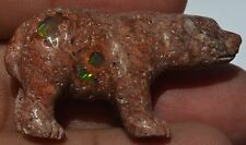 MEXICAN NATURAL MATRIX FIRE OPAL STONE CARVING UNIQUE BEAR COLLECTOR FIGURINE