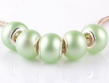 5pcs silver pearl Matcha green spacer beads fit Charm European Bracelet AB915