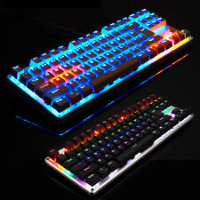 87 Keys Mixed LED Backlit Usb Multimedia Ergonomic Gaming Mechanical Keyboard