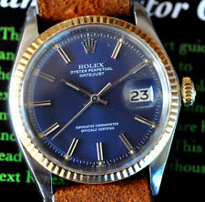 Vintage 1970 Rolex Datejust Watch Ref 1601 All Original Blue Dial Excellent Time