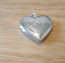 Sterling Silver Plated Polished Love Heart Locket Charm