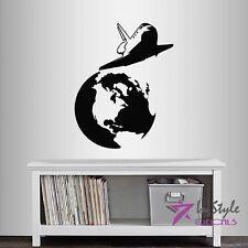 Vinyl Decal Space Shuttle Flying Earth Rocket Kids Nursery Boy Wall Sticker 149