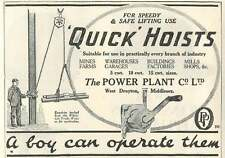 1926 Power Plant Company West Drayton Middlesex Hoists Old Advert