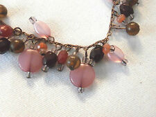 """Matching Pair of Earrings and Bracelet ~ Pink & Purple Beads ~ Brass Tone ~ 8"""""""