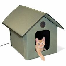 Outdoor Cat House Heated Kitty Warm Bed Waterproof Pet Condo Outside Shelter