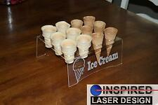 Engraved Acrylic 12 Cone Ice Cream Cone Holder Tray Display Stand Rack Wedding