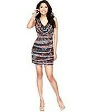 "Nine West Petite Dress Sz 8P Black Combo ""Sweet Escape"" Tiered Casual Party Dres"