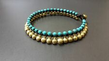 Brass  Bell Turquoise Anklet