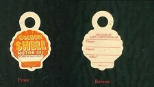 Die-cut Golden Shell Oil Co. Paper Key Fob Reminder of Next Oil Change c1950s