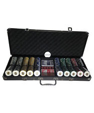 Pro 500 Piece Poker Set with Black Locking Case and Fleur de Lis Chips -17lbs