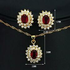 Designer Inspired Gold Plated Red Faux Ruby Earring Pendant Set Anniversary Gift
