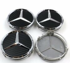 4 PCS/SET MERCEDES 75MM BLACK CARBON FIBER CENTER WHEEL HUB CAPS COVER EMBLEM