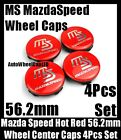 Mazda MS Mazdaspeed Hot Red Chrome Silver Wheel Center Caps Emblems 56.2mm 4Pcs