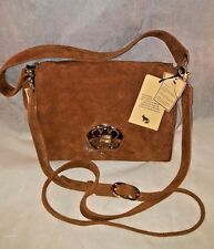 EMMA FOX Cognac Dales Boxy Shoulder Cross body Satchel Suede bag NWT $198