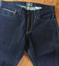 GILDED AGE New Man Dark Blue Traditional Slim Jeans Pants Cotton Trouser Sz33X34
