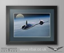 Framed Lockheed SR-71 Blackbird / Habu CANVAS PRINT, Digital Artwork