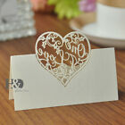 300PC Ivory Table Place Name Cards For Wedding With Delicate Heart Shaped Design