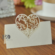 100PC Ivory Table Place Name Cards For Wedding With Delicate Heart Shaped Design