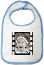Bavoir Bébé Bleu Cadre Photo Négatif Pellicule personnalisé avec votre Photo