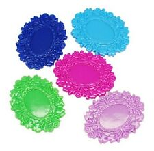 12 Resin Frilly Cabochon Settings Oval Charms 50mm - Mixed Colours-Frame - CAB22